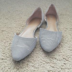 Merona grey and white striped flats